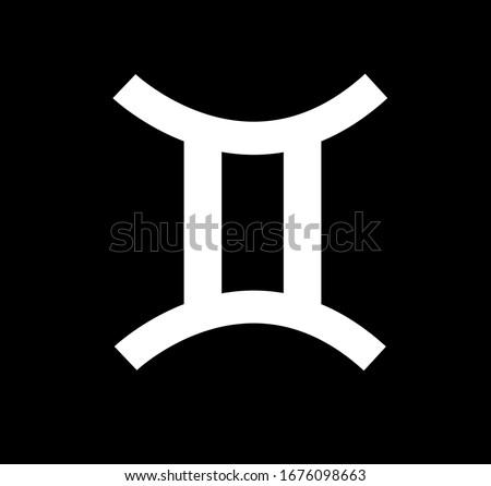 Gemini zodiac sign. design illustration. White Gemini horoscope sign, symbol, icon for your design. Gemini astrology horoscope symbol clip art on black background. Astrological icon isolated.