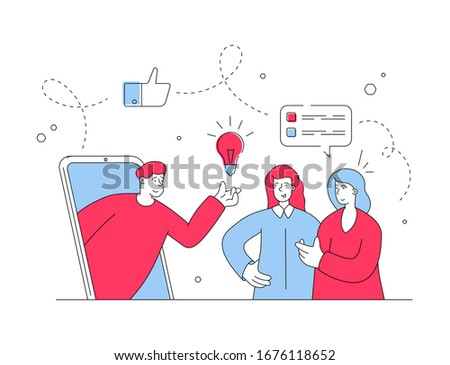Male online assistant offering creative idea to red and blue female customers browsing social media on contemporary smartphone for inspiration. Flat style illustration, thin line art design #1676118652