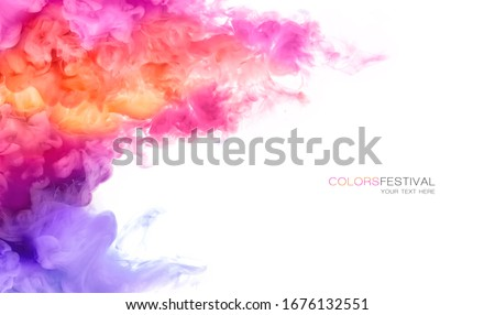 Abstract background banner with colorful pink, purple, orange and yellow shades of colorful ink in water isolated on white. Festival of colors with sample text. Paint texture. Color Explosion panorama #1676132551