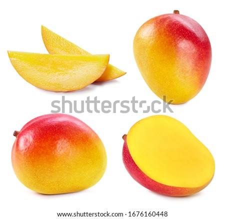 Collection mango isolated on white background. Mango fruit clipping path. Mango macro studio photo #1676160448