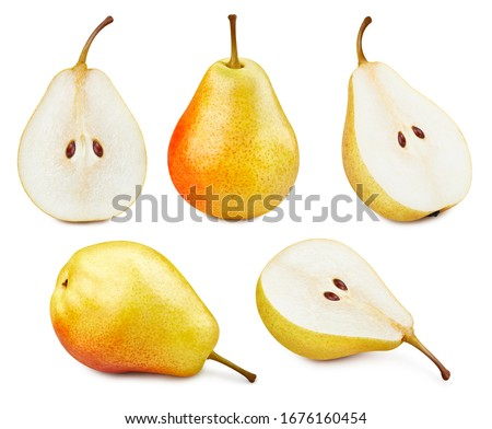 Collection Pears. Pears isolated on white background. Pears fruit clipping path. Pears macro studio photo #1676160454