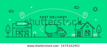 Fast delivery from store to home. Vector illustration with shop, delivery van and house. Delivery route linear icon. Web banner or flyer concept. #1676162401