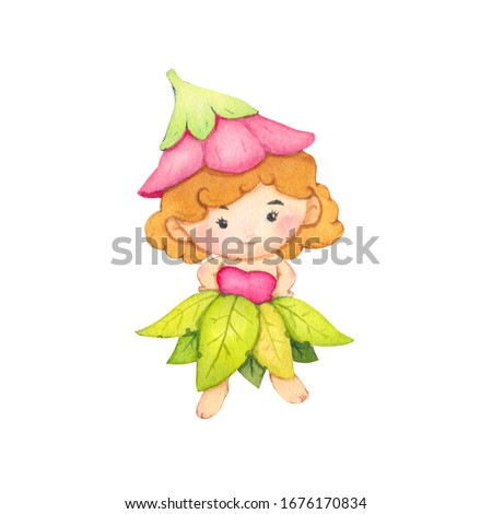 Fairy Cartoon watercolor in flower and leaf costume isolated on white background. With clipping path