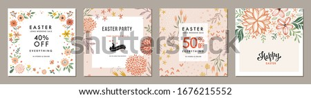 Trendy Easter floral square templates. Suitable for social media posts, mobile apps, cards, invitations, banners design and web/internet ads. Vector illustration. Royalty-Free Stock Photo #1676215552