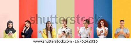 Collage of photos with different emotional people using mobile phones