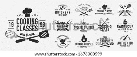 Set of Cooking Class logo and poster templates. Barbecue and Cooking Courses logo set for for food studio, cooking courses, culinary school. Restaurant graphics. Vector illustration Royalty-Free Stock Photo #1676300599