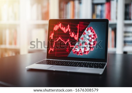 The coronavirus sinks the global stock exchanges. Desktop display showing the collapse of the stock market due to the global Coronavirus virus crisis. Novel coronavirus 2019 COVID-19 theme. #1676308579
