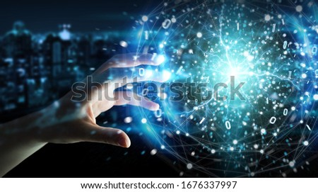 Businessman hand on dark background creating renewable and sustainable eco energy with electrical sphere 3D rendering Royalty-Free Stock Photo #1676337997