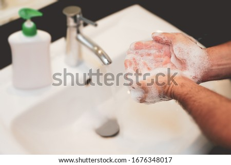 Men hands washing with soap                          #1676348017