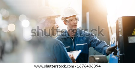 Professional men engineer worker skills quality, maintenance, training industry factory worker , warehouse Workshop for factory operators, mechanical engineering team production.  #1676406394