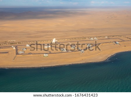 Aerial picture of Afrodite Beach at the Atlantic Ocean on the Skeleton Coast in western Namibia during summer