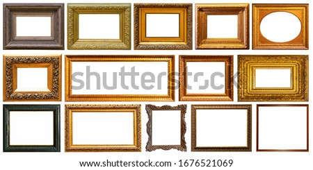 Set of frame frames picture gold silver tree. Royalty-Free Stock Photo #1676521069