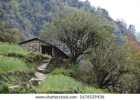 Scenery background of the building construction exterior style in the area of mountain at Pokhara, Nepal #1676529436