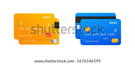 Credit Cards vector mockups isolated on white background.  Royalty-Free Stock Photo #1676546599