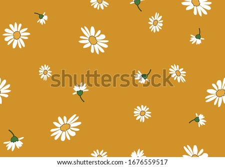 daisy seamless pattern vector design hand drawn spring daisy flower  fabric towel design pattern summer print  ditsy flower,spring,stationery,fabric,paper,packet,fashion creative decorative #1676559517