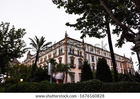 Historic buildings and monuments of Seville, Spain. Architectural details, stone facade and museums Europe. Spanish architectural styles of Gothic and Mudejar, Baroque #1676560828