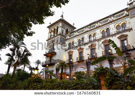 Historic buildings and monuments of Seville, Spain. Architectural details, stone facade and museums Europe. Spanish architectural styles of Gothic and Mudejar, Baroque #1676560831