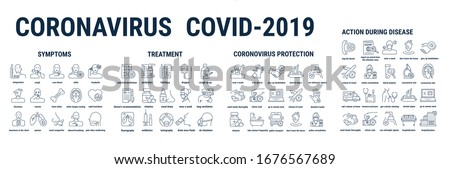 Vector graphic illustration on a white background. Concept icon in linear design. Coronavirus pandemic, recommendations. Human pneumonia covid-19. Symbol, sign, logo, emblem. #1676567689