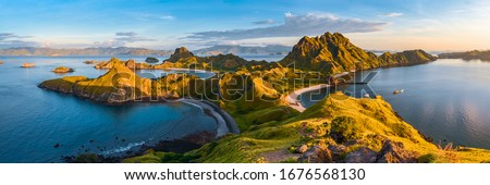 Panoramic view of Padar Island in a morning from Komodo Island National Park, Labuan Bajo, Flores, Indonesia #1676568130