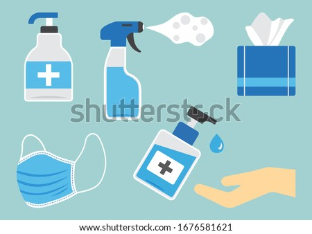 Disinfection. Hygiene. Set of sanitizer bottles, washing gel, spray, wet wipes, liquid soap, medical mask, napkins. PPE personal protective equipment. Vector illustration #1676581621