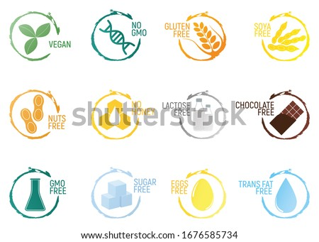 Set of allergen food, GMO free products icon and logo. Intolerance and allergy food. Concept cartoon illustration and isolated art.