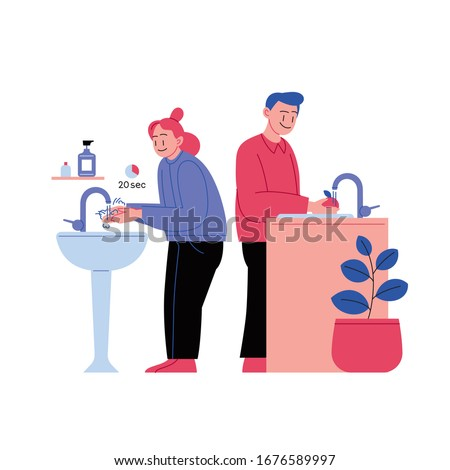 Flat illustration of a woman washing hands and a man washing fruits. Covid-19 prevention.  #1676589997