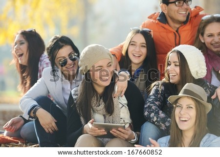 Happy teen girls having good fun time outdoors #167660852
