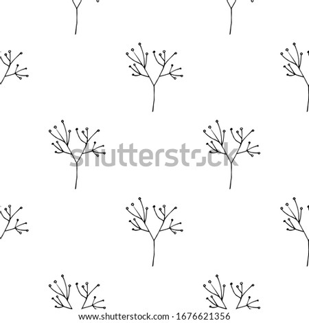 Plant. Hand drawn Vector Patterns. Floral Organic Background. Isolated Pattern for Notebook, Textile, Packaging. #1676621356