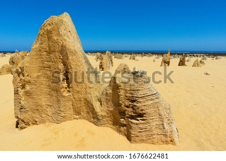 Close-up picture of a limestone rock at the Pinnacles desert with ocean at the background, West Australia near Perth