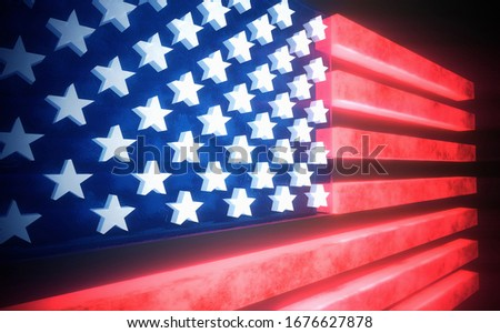 Glowing 3d flag of the United States of America