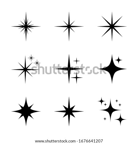 sparkling star set. shine icon with different starburst shape. shining light symbol for decorative graphic design elements isolated on white background. vector illustration #1676641207