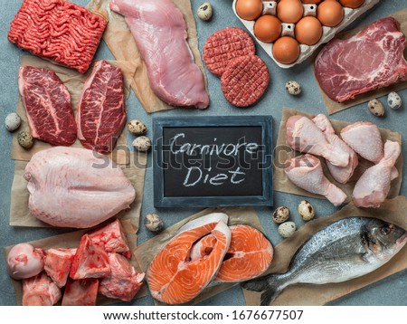 Carnivore diet, zero carb concept, top view Royalty-Free Stock Photo #1676677507