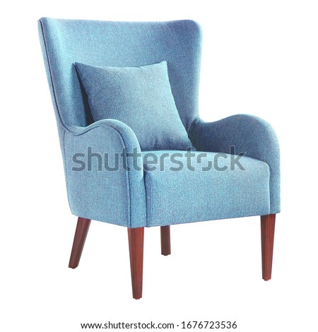 Upholstered Accent Chair Isolated on White. Modern Aqua Teal Blue Wingback Club Armchair with Pillow Upholstered Wing Armrests and Wooden Feet Side View. Interior Furniture. Turquoise Sofa Set #1676723536