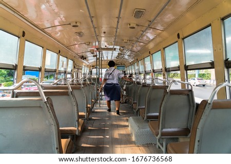 Public buses without passengers after pandemic of disease virus Covid-19  in Bangkok city, Thailand. #1676736568