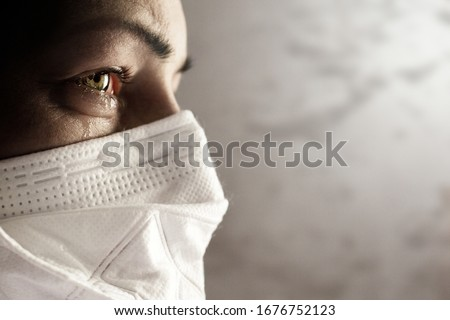 Women with safety mask from coronavirus. Covid-19 outbreak around the world Royalty-Free Stock Photo #1676752123