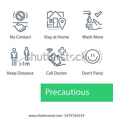 Virus outbreak precautions, preventive measures, safety instructions, pandemic quarantine, warning advice, flu spread, avoid social contact, stay home, wash hand, keep distance, call doctor, icon set Royalty-Free Stock Photo #1676766214