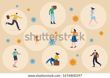 Social distancing concept, people keep distance in public society to protect from COVID-19 coronavirus outbreak spreading concept, people wearing mask keep distance away in circle with virus pathogens #1676800297