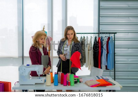 Fashion designers work designing clothes in the office #1676818015