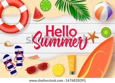 Hello summer vector banner design. Hello summer text in wood background with beach and tropical fruits like surf board, lifebuoy, beach ball, water melon, lemon, and kiwi for holiday season. #1676828395