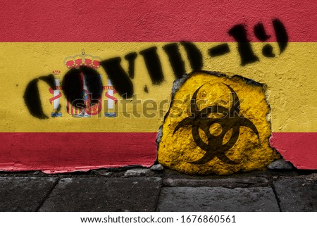 Flag of Spain on the wall with covid-19 quarantine symbol on it. 2019 - 2020 Novel Coronavirus (2019-nCoV) concept, for an outbreak occurs in Spain. #1676860561
