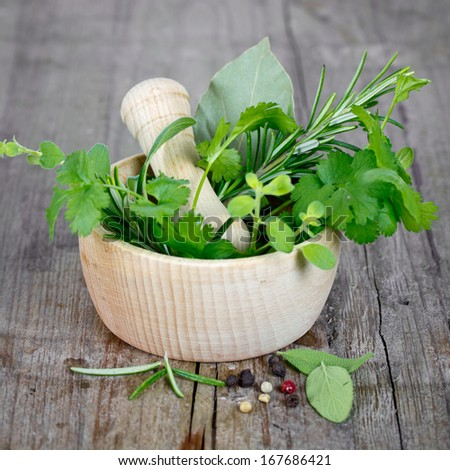 herbs in mortar #167686421