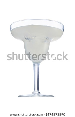 Daiquiri cocktail with ice cubes is contained in a margarita glass. The showy illustrative picture is made on the white background.
