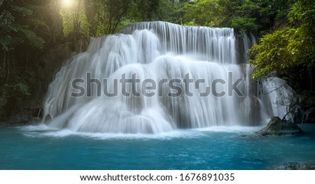 Beautiful waterfall in deep forest at Thailand.