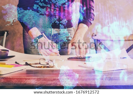 Multi exposure of man standing and planing investment with stock market forex chart. #1676912572