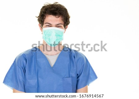 man doctor with protective mask vs virus epidemic coronavirus  #1676914567