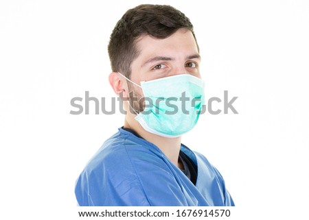 man doctor coronavirus wearing a hygiene mask is trying to avoid a corona virus epidemic covid-19 #1676914570