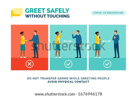Alternative safe greetings to avoid physical contact and to practice social distancing: coronavirus covid-19 prevention Royalty-Free Stock Photo #1676946178