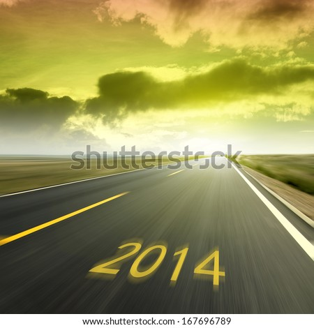 The arrival of the New Year, 2014 Highway, a better future. #167696789