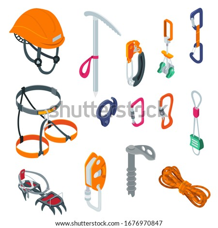 Mountaineering sport climbing equipment on alpinism extreme isometric vector illustration isolated on white. Helmet, carabiner, rope and ax. Collection sport outdoor adventure tools, hook, stopper.
