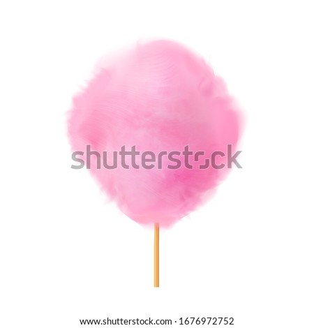 Cotton candy. Realistic pink cotton candy on wooden stick. Summer tasty and sweet snack for children in parks and food festivals. 3d vector realistic illustration isolated on white background #1676972752